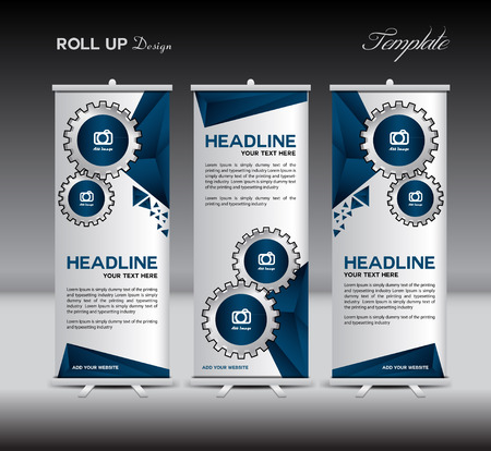 Blue Roll Up Banner template display advertisement illustration Çizim