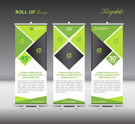 green and blue roll up banner stand template, stand design,banner