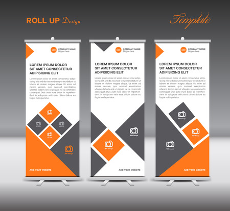 Oranje Roll Up Banner template scherm reclame lay-out illustratie