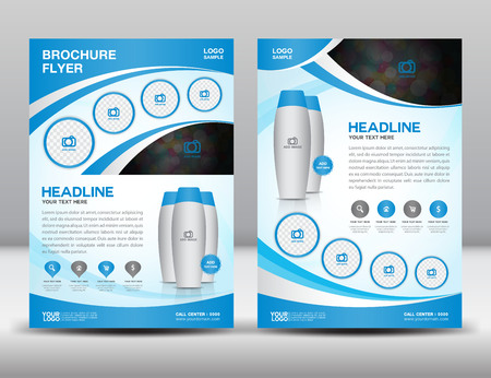 Blue business brochure flyer design layout template in A4 size magzine ads Illustration