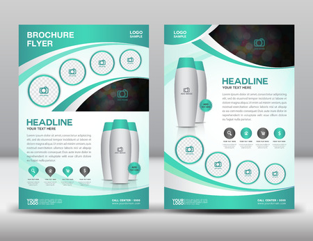newspaper roll: Green business brochure flyer design layout template in A4 size magzine ads