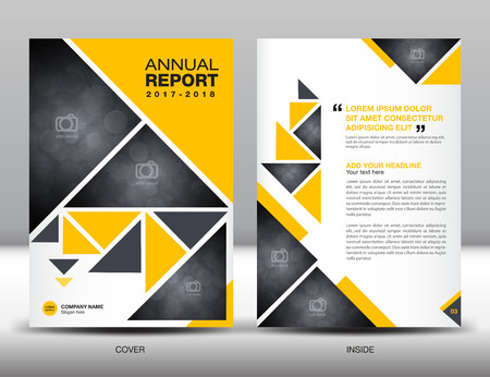 newspaper roll: Yellow Annual report template business brochure flyer template in A4 size Illustration
