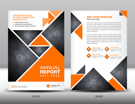 Orange Annual report template business brochure flyer template in A4 size Illustration