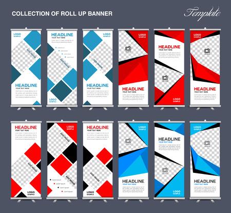 Colección de Roll Up Banner Diseño de fondo de polígono, folletos, banners, etiquetas, roll-up y plantilla de la tarjeta