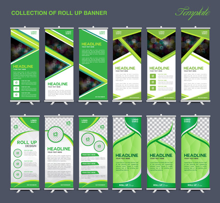 rollup: Collection of Green Roll Up Banner Design polygon background,flyers, banners, labels, roll-up and card template