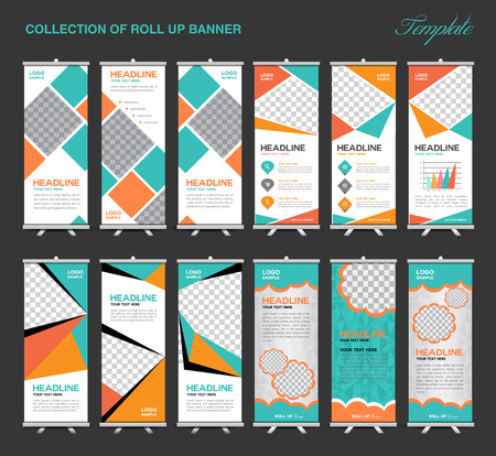 Collection of Orange and green Roll Up Banner Design polygon background,flyers, banners, labels, roll-up and card template