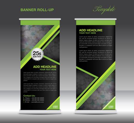 newspaper roll: Green Roll up banner stand template advertisement design Illustration