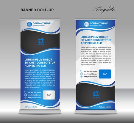 Blauw en Wit Roll-up banner staan ??sjabloon folder reclame sjabloon voor het bedrijfsleven