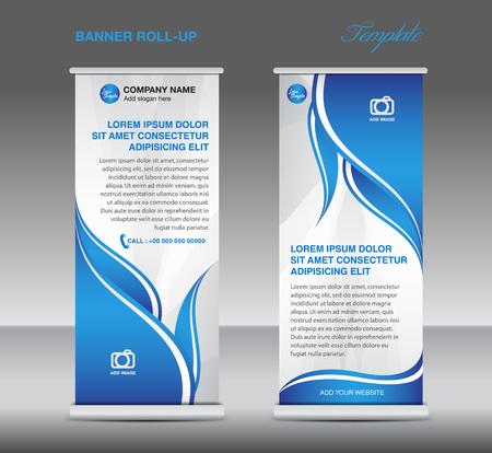 Blauw en Wit Rol omhoog banner tribune sjabloon foldersjabloon vector voor zaken Stockfoto - 60189060