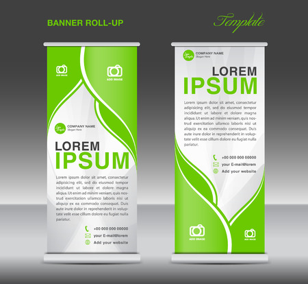 newspaper roll: Green and White Roll up banner stand template flyer template vector for business