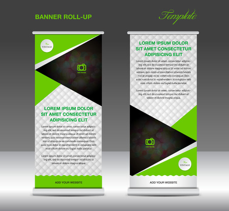 newspaper roll: Green and white Roll up banner stand template vintage banner for business