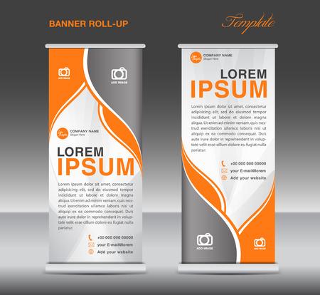 Oranje en wit Roll-up banner staan ??sjabloon flyer sjabloon vector voor het bedrijfsleven