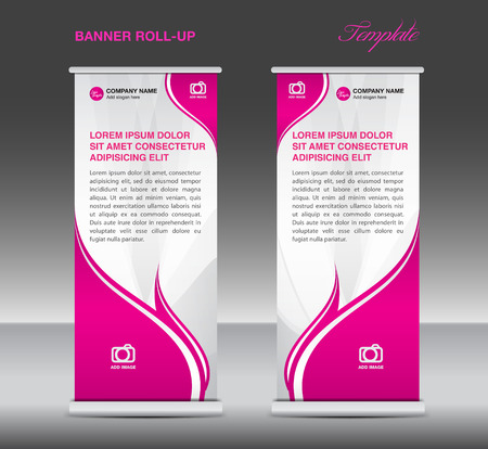 newspaper roll: Pink and White Roll up banner stand template flyer template vector for business Illustration