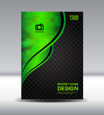 Green and black Cover design and Cover Annual report booklet flyer template vector illustration