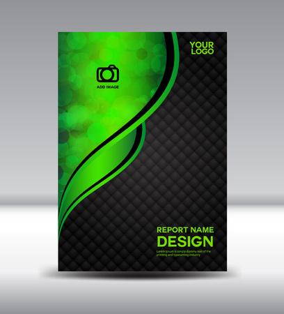 Groene en zwarte cover ontwerp en Cover Jaarverslag boekje flyer template vector illustratie