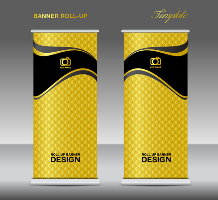 newspaper roll: Gold Roll up banner stand template vintage banner corporate design flyer template