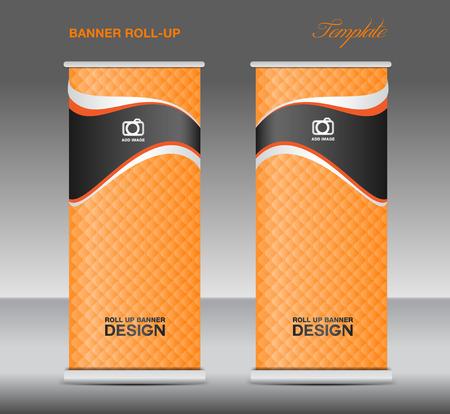 newspaper roll: Orange Roll up banner stand template vintage banner corporate design flyer template