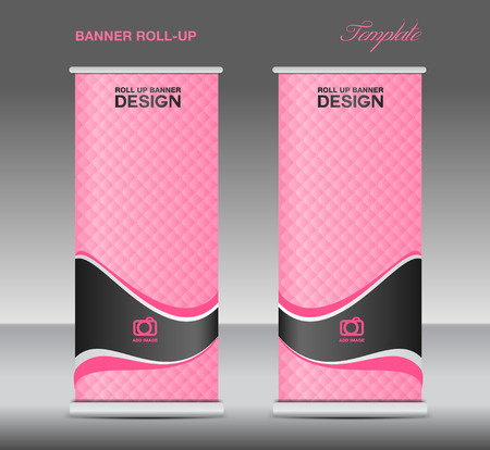 newspaper roll: Pink Roll up banner stand template vintage banner corporate design flyer template