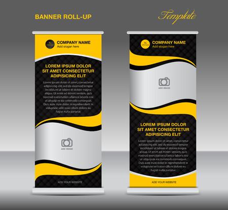 Yellow Roll up banner staan template vintage banner corporate design flyer template Stock Illustratie