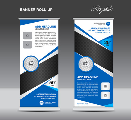 display stand: Blue Roll up banner stand template advertisement display vector design Illustration