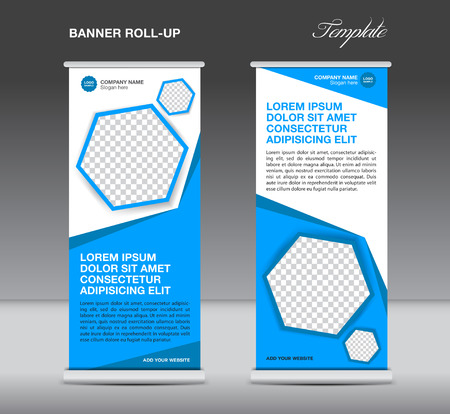 stand display: Blue Roll up banner template stand display advertisement flyer design polygon vector