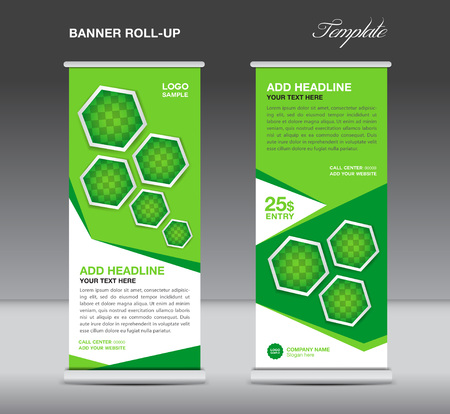 stand display: Green Roll up banner template stand display advertisement flyer design vector for business Illustration