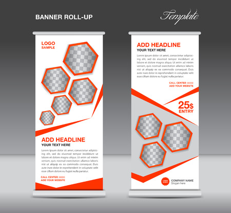 stand display: Orange Roll up banner template stand display advertisement flyer design vector for business Illustration