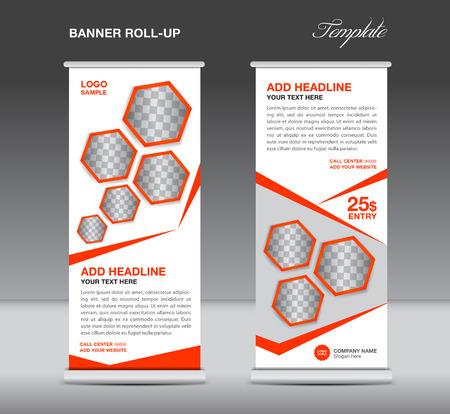 Oranje Roll-up banner sjabloon stand weergave reclame flyer ontwerp vector voor het bedrijfsleven Stock Illustratie