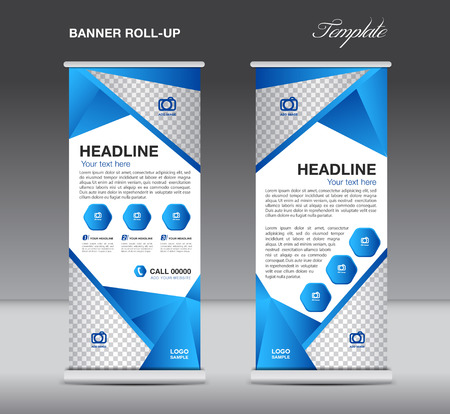 newspaper roll: Blue Roll up banner stand template  flyer design, display,  polygon background
