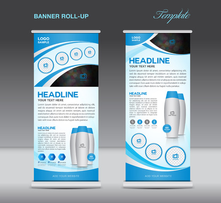 Blue Roll up banner stand template  flyer design, display, poster cosmetics template