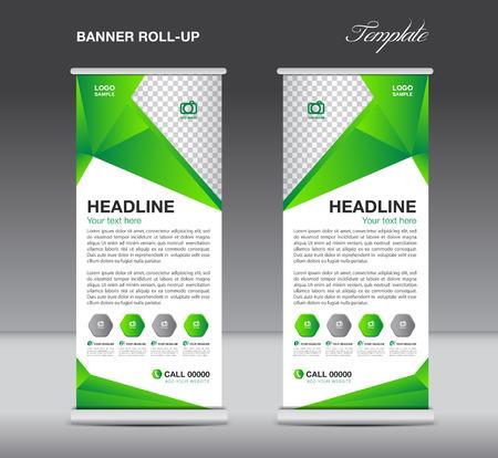 Green Roll up banner staan template flyer ontwerp, vertoning, veelhoek achtergrond