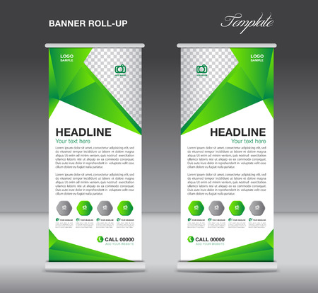 Green Roll up banner stand template  flyer design, display,  polygon background