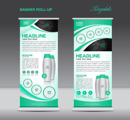 Green Roll up banner staan template flyer ontwerp, vertoning, poster cosmetica template Stock Illustratie