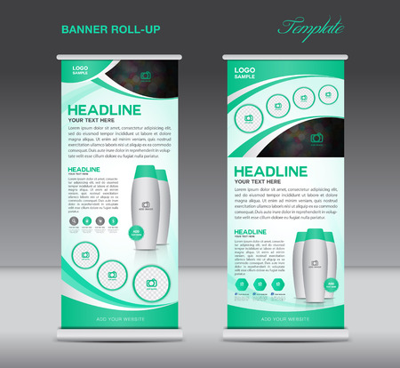 Green Roll up banner stand template  flyer design, display, poster cosmetics template