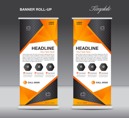 Oranje rol omhoog banner tribune sjabloon flyer ontwerp, weergave, veelhoek achtergrond Stock Illustratie