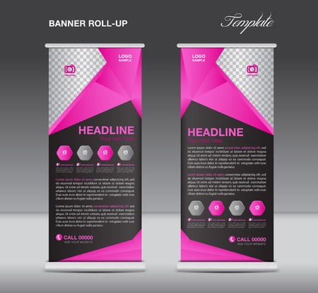 newspaper roll: Pink and black Roll up banner stand template  flyer design, display,  polygon background