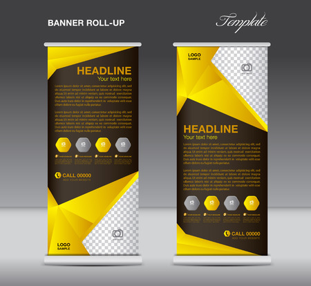Yellow Roll up banner stand template  flyer design, display,  polygon background  イラスト・ベクター素材