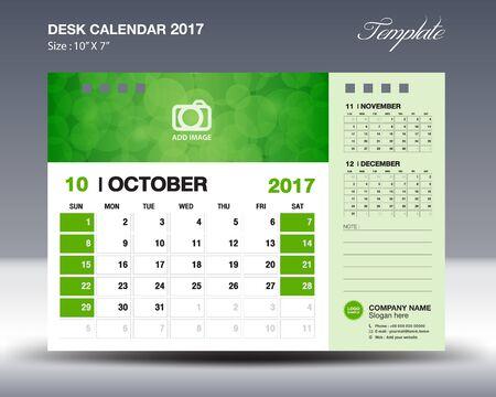calendario octubre: Calendario de escritorio octubre 2017 Plantilla para los negocios Vectores