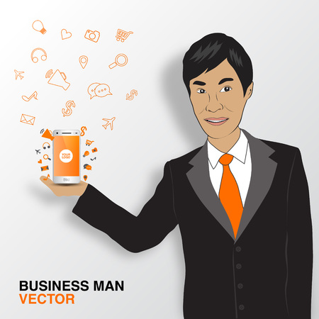 asian business: Business man and mobile infographics, asian man smile Illustration