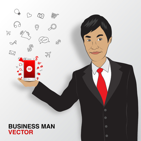 asian business: Business man and mobile infographics, asian man
