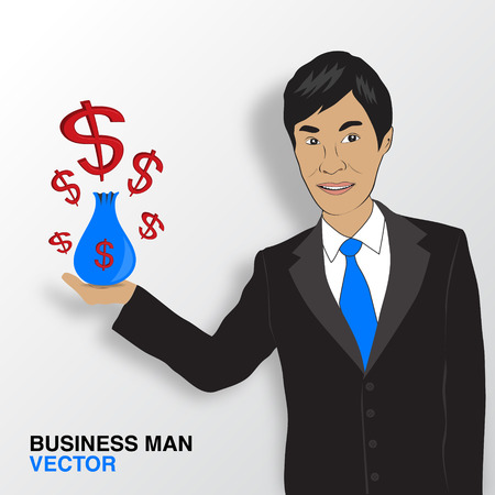 asian business: Business man and money infographics, asian man smile