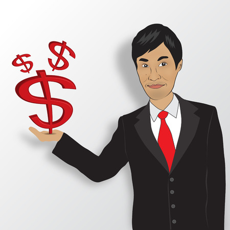 asian business: Business man and money vector, asian man Illustration