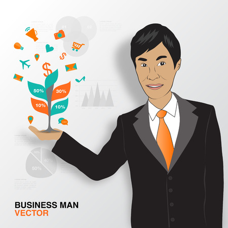 asian business: Business man and infographics, asian man smile vector