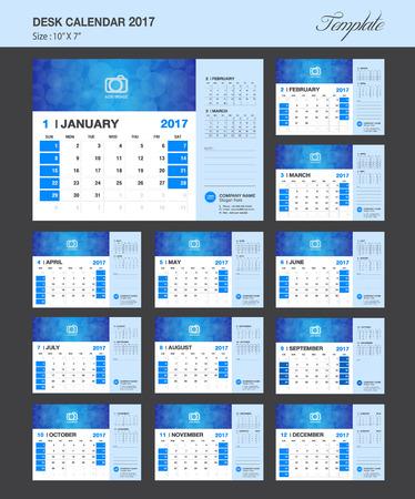 meses del año: Calendario de escritorio para el 2017 Año del diseño del vector, Conjunto de 12 Meses