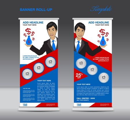 display stand: Blue and red Roll up banner  template and Business Man, Mobile infographics, stand display advertisement vector Illustration