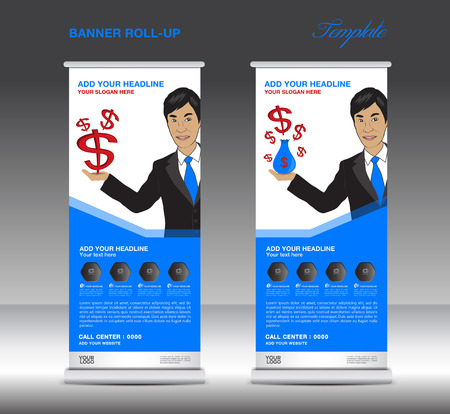 rollup: Blue Roll up banner  template and Business Man, Mobile infographics, stand display advertisement vector