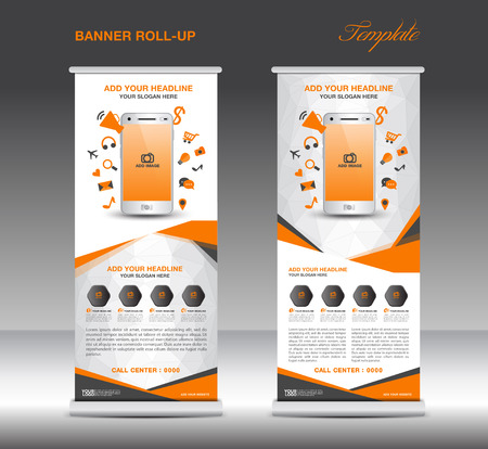 stand display: Orange Roll up banner  template and Mobile infographics, stand display advertisement flyer vector