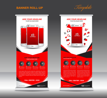rollup: Red Roll up banner  template and Mobile infographics, stand display advertisement flyer vector