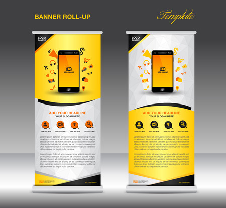 stand display: Roll up banner  template and Mobile infographics, stand display advertisement flyer vector