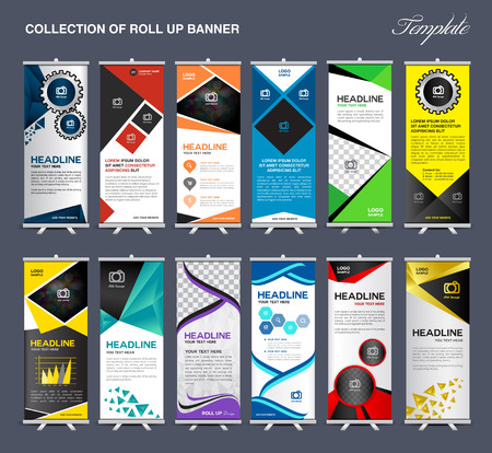 stand display: Roll Up Banner template Collection, stand display template vector Illustration
